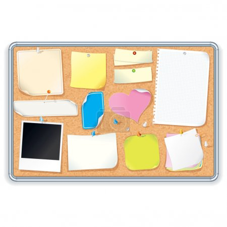 Cork Notice Board with Blank Notes. Vector Image
