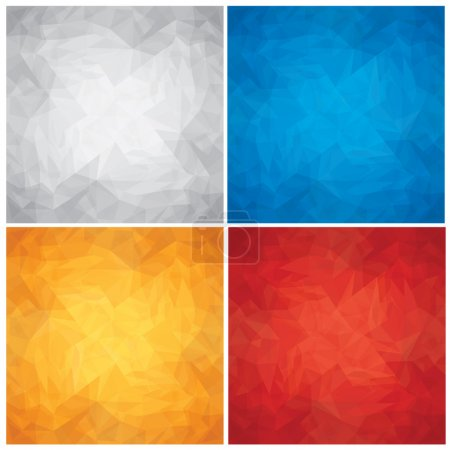 Illustration for Set of Crumpled,Colored Paper Textures. Eps10 Vector Backgrounds. - Royalty Free Image