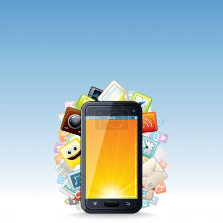 Touchscreen Smartphone with Cloud of Apps Icons