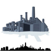 Illustration of Abstract Large Factory 3D Vector