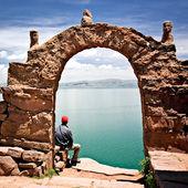 Archway on Taquile Island, Lake Titicaca Peru