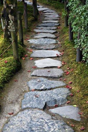 Photo pour Chemin de pierre dans un jardin japonais - image libre de droit