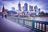 MELBOURNE, AUSTRALIA - AUGUST 14: Princes Bridge and Melbourne skyline. Melbourne is the 2nd most populous city of Australia
