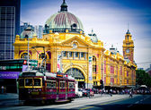 MELBOURNE, AUSTRALIA - OCTOBER 29: Iconic Flinders Street Station was completed in 1910 and is used by over 100,000 people each day