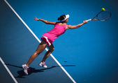 MELBOURNE, AUSTRALIA - JANUARY 26: Yan Zi of China in her doubles match with Bethanie Mattek Sands against Venus and Serena Williams