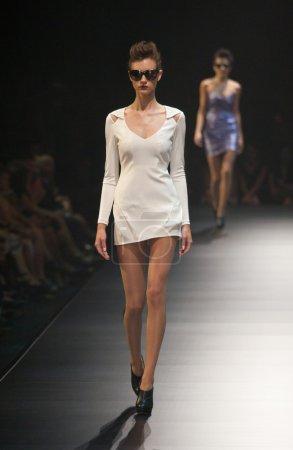 MELBOURNE, AUSTRALIA - MARCH 19: A model showcases designs in the 2011 L'Oreal Melbourne Fashion Festival
