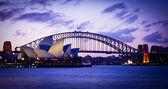 SYDNEY, AUSTRALIA - SEPT 1 : Sydney's most famous icons, the Sydney Opera House and Harbour Bridge