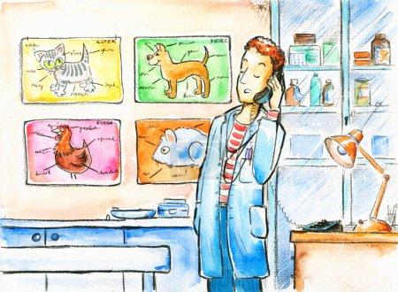 Photo pour Vétérinaire à la clinique .Photo que j'ai créé avec des aquarelles . - image libre de droit