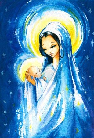 Photo pour Scène de Nativité : Marie avec le jeune Jésus christ dans son arms.picture que j'ai créé à l'aquarelle. - image libre de droit