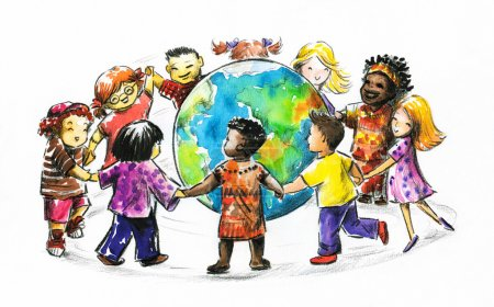 Photo for Children of different races hugging the planet Earth. I have created it myself with watercolors - Royalty Free Image