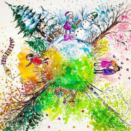 Photo pour Illustration des quatre saisons de l'année.Photo réalisée avec des aquarelles . - image libre de droit