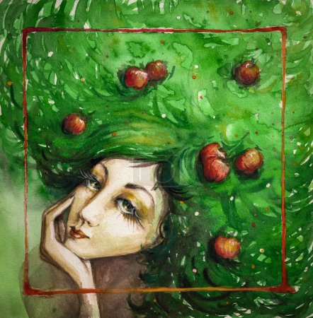 Photo for Portrait of beautiful woman with apples in her green hair.Picture created with watercolors. - Royalty Free Image