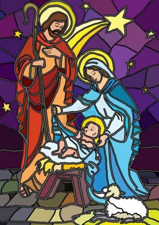 Photo pour Illustration vectorielle de la Sainte famille de la Nativité ou naissance de Jésus créé dans le vitrail - image libre de droit