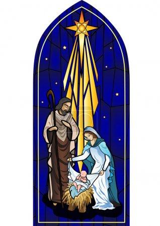 Photo pour Illustration vectorielle de la sainte famille de la nativité ou de la naissance de Jésus créé comme vitrail . - image libre de droit