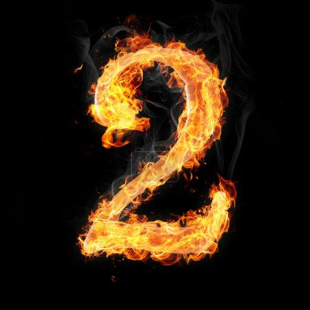 Photo for Number 2 in fire. For more words, fonts, numbers and symbols see my portfolio. - Royalty Free Image