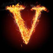 Letters  in fire - Letter V