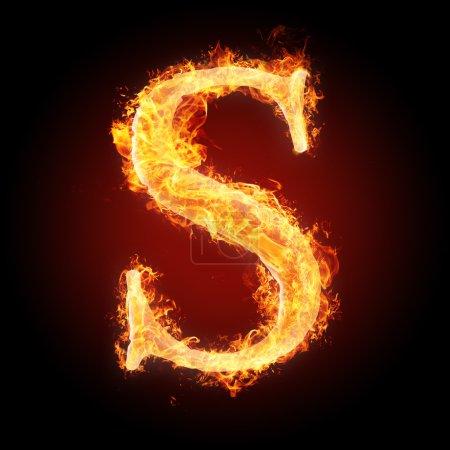 Photo pour Lettres et simbols en feu - Lettre S. Pour plus de mots, polices et symboles voir mon portfolio . - image libre de droit