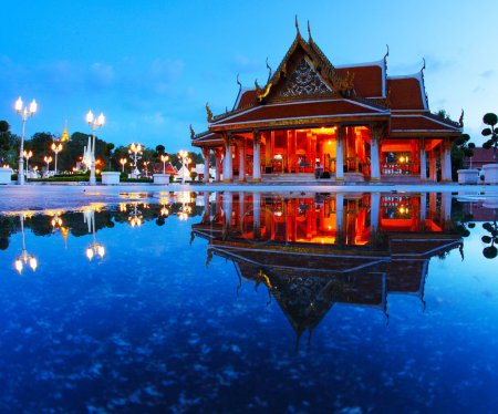 Photo for Marble temple at twilight with reflection in a water - Royalty Free Image