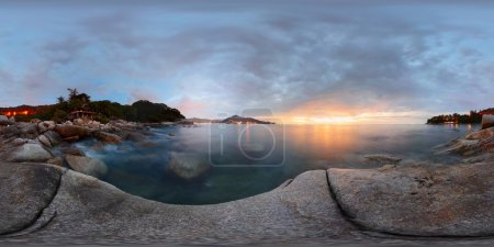 Spherical, 360 degrees panorama of a rocky coast o...