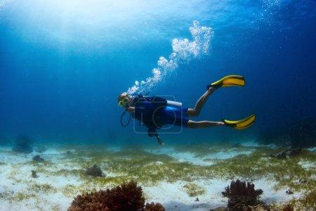 Photo pour Plongeur explorant le site de plongée tropicale et finning sur le fond - image libre de droit