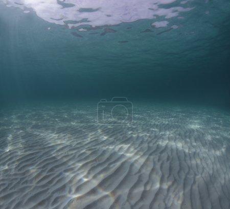 Photo pour Tournage sous-marin d'un fond de mer infinie de sable fin avec des vagues sur une surface de la mer (aucun post-traitement (sauf couture)) - image libre de droit