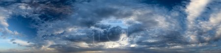 Panorama of a sunset sky with clouds