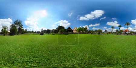Photo pour Spherical, 360 degrees panorama (equirectangular projection) of green meadow with buildings, Bali, Indonesia - image libre de droit