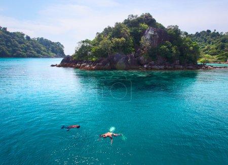 Photo pour Population plongée dans une mer tropicale claire par une île - image libre de droit
