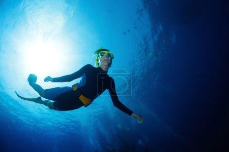 Photo pour Plongée libre glissant sur la profondeur en mer tropicale - image libre de droit