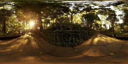 Photo pour Photographie, 360 degrés panoramique transparente du sanctuaire de la forêt des singes dans la ville d'Ubud à matin ensoleillé. Bali, Indonésie - image libre de droit