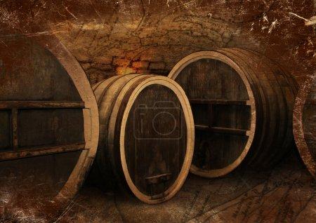 Wine cellar with old oak barrels in vintage style