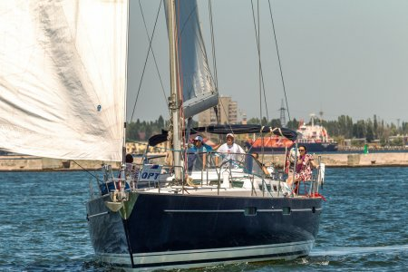 Odessa, Ukraine - May 28, 2011: Sailing yacht out in the coastal