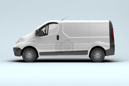 Photo pour Camionnette commerciale blanche sur fond gris avec ombre - image libre de droit