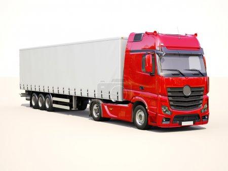 Photo pour Un camion semi-remorque moderne sur fond clair - image libre de droit