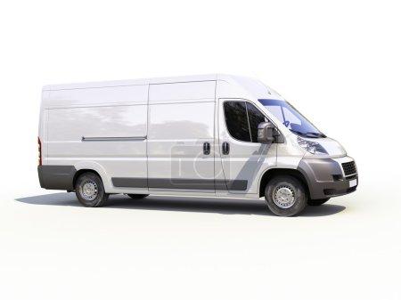 Photo pour Camionnette de livraison commerciale blanche sur fond de ligthe avec ombre - image libre de droit