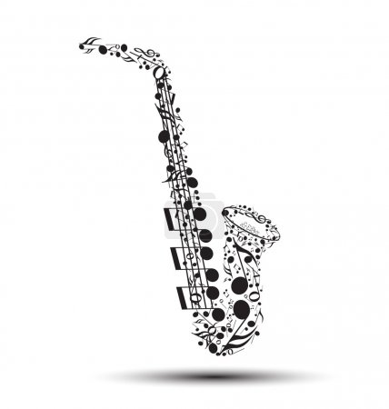 Decoration of musical notes in the shape of a saxo...