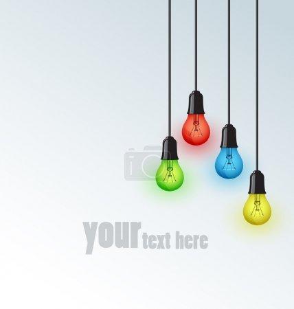 Illustration pour Arrière-plan avec des ampoules colorées, endroit pour le texte - image libre de droit