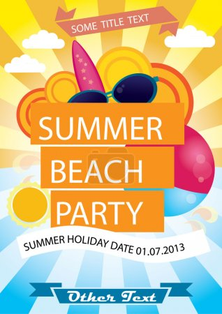 Illustration for Summer beach party vector poster with plenty of text space - Royalty Free Image