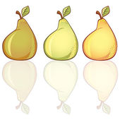 3 freash pears in different colors
