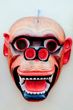 Colorfully painted wooden South American mask