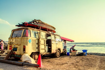 Hippie Surfboard Van on the beach