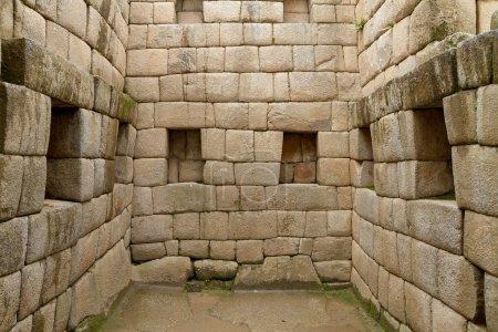 Photo pour Porte du temple inca à la cité perdue du machu picchu, Pérou - image libre de droit