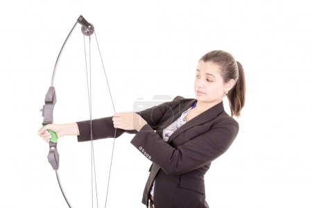 Determined professional office woman archer