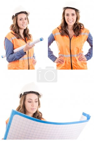 Woman Architect at work site with blueprints set