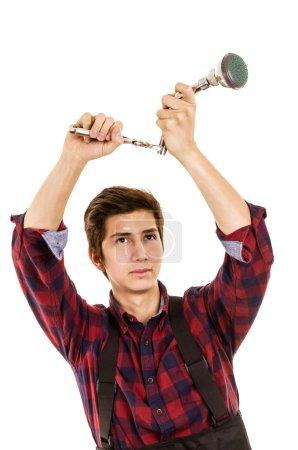 Man installing a shower head
