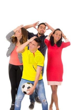 group watching football match
