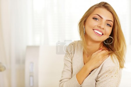 Photo for Portrait of a young cheerful woman with copyspace - Royalty Free Image