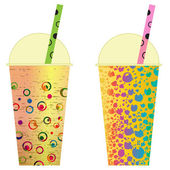 Various Bubble Tea in a row clip art