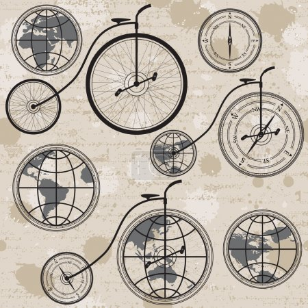 Retro bicycle, globe and compass