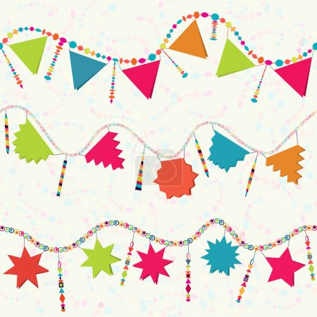 Illustration for Carnival serpentine, Happy Birthday garland, party decoration, seamless background - Royalty Free Image